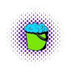 Bucket with foamy water icon comics style vector image vector image