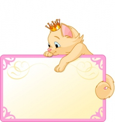 cat princess invite or placard vector image vector image