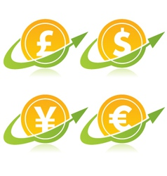 Currency Coins with Arrows vector image vector image
