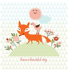 cute fox and bird vector image vector image