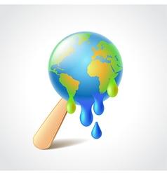 Earth like melting ice cream vector image vector image