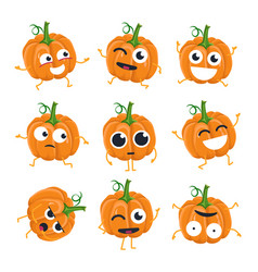 Funny pumpkin - isolated cartoon emoticons vector