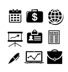 Set of black and white business icons vector image