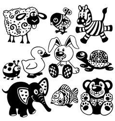 set of black white pictures for kids vector image