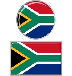 South African round and square icon flag vector image vector image
