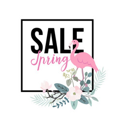 spring sale poster flamingo bird with palm leaves vector image vector image