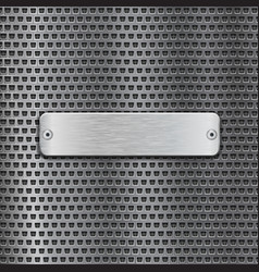 stainless steel brushed plate on metal perforated vector image