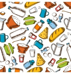 Cooking ingredients seamless pattern background vector