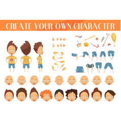 creation of character boy set vector image vector image