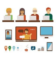 People and computers set vector image