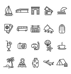 travel and tourism signs black thin line icon set vector image