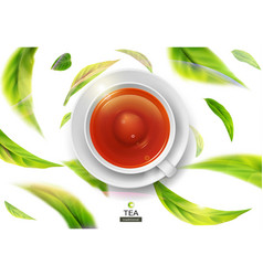 3d with green tea leaves in motion vector