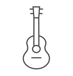 Acoustic guitar thin line icon music and string vector