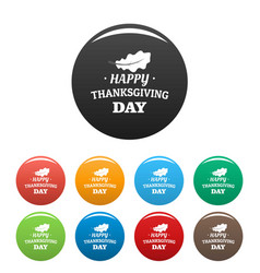 autumn leaf thanksgiving icons set color vector image