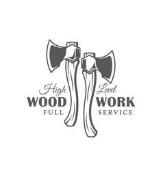Axes modern carpentry label vector