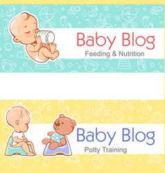 banner for baby blogbaby with bottle on potty vector image