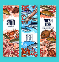 Banners fresh seafood fish product sketch vector