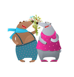 bear couple presenting bunch flowers vector image