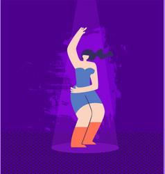 beautiful cartoon disco woman in casual clothes vector image
