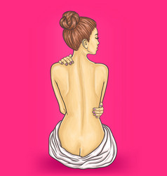 Beautiful slim nude woman turned her back vector
