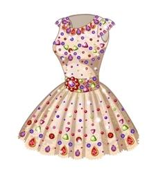 Beige Princess dress inlaid with precious stones vector image
