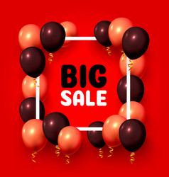 big sale balloon market frame on red vector image