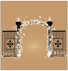 Black fence with white flowers vector image