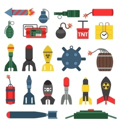 Bomb and rockets set vector image