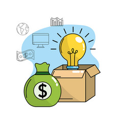 Bulb idea inside box and bag cash money vector