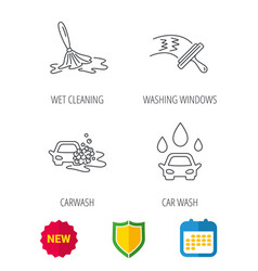 Car wash icons cleaning station linear signs vector