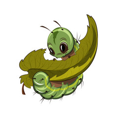 Caterpillar eating a leaf cartoon vector