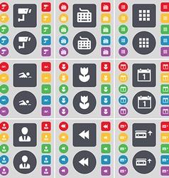 Cctv keyboard apps swimmer flower calendar avatar vector