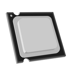 Central processing unit icon in monochrome style vector