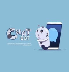 chat bot in smart phone cute robot template banner vector image