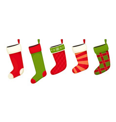christmas stockings red green colors vector image