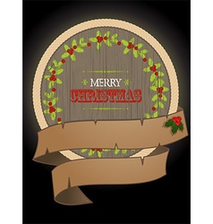 Christmas wooden border and banner vector