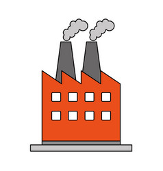Color image cartoon building industrial factory vector