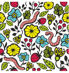 Colorful seamless pattern with flora and fauna in vector