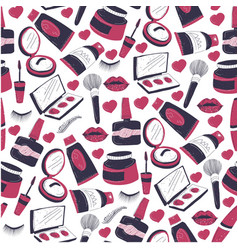 cosmetic products brushes and palettes lipsticks vector image
