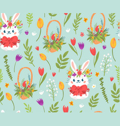 cute easter rabbits and flowers seamless pattern vector image