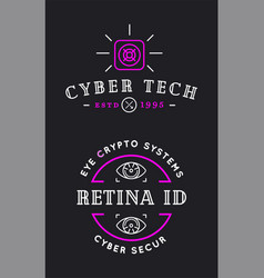 cyber security colorful sign or banner with icon vector image