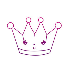 Degraded outline kawaii cute metal crown accessory vector