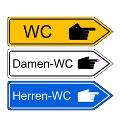 Direction sign WC vector image