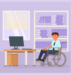 disabled man office worker in wheelchair vector image