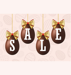 easter egg sale 3d icons set gold ribbon bow vector image