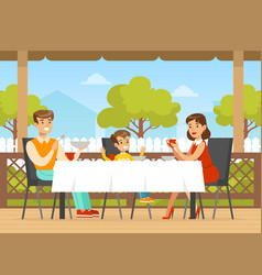 family having dinner on terrace mother father vector image