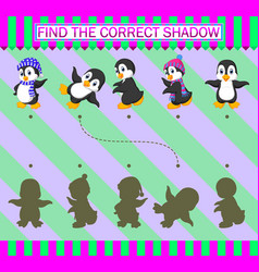 Find correct shadow cartoon cute penguin vector