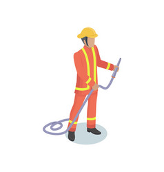 fire-fighter male realistic isometric model form vector image