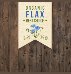 flax label with type design vector image