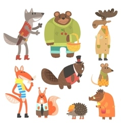 Forest Animals Dressed In Human Clothes Set Of vector image